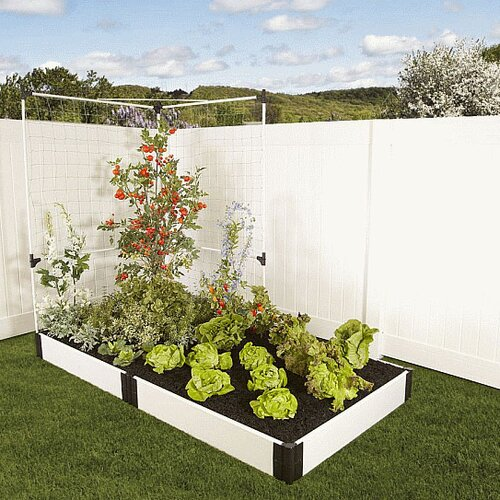 Frame It All Classic White Rectangular Raised Garden