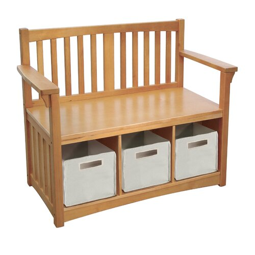 Guidecraft New Mission Wood Storage Bench