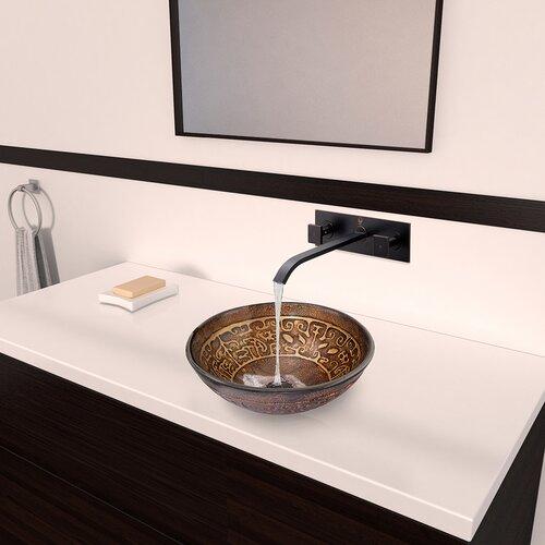 ... Golden Greek Glass Vessel Bathroom Sink with Titus Wall Mount Faucet