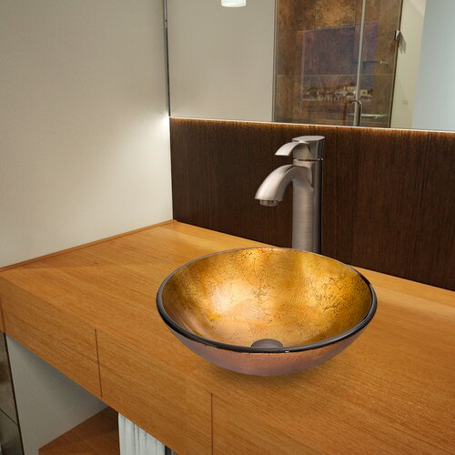Liquid Gold Glass Vessel Bathroom Sink with Otis Faucet
