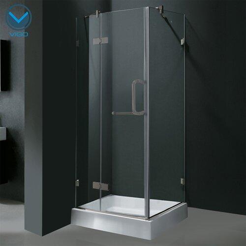 Vigo Pivot Door Frameless Shower Enclosure with Base