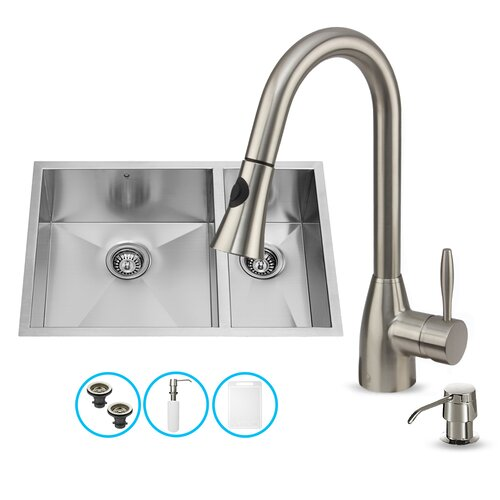 Bowl Sink Faucet : ... Double Bowl Kitchen Sink with Faucet & Reviews Wayfair Supply