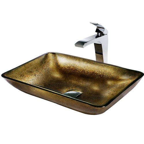 Rectangular Glass Bathroom Sink with Fountain Faucet