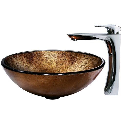 Vigo Atlantis Glass Bathroom Sink and Single Lever Faucet