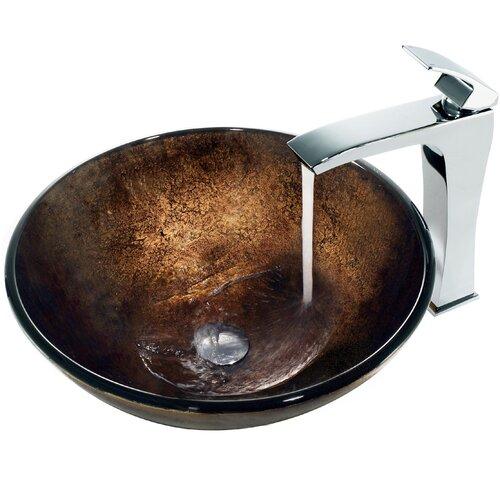 Vigo Lava Glass Bathroom Sink with Faucet
