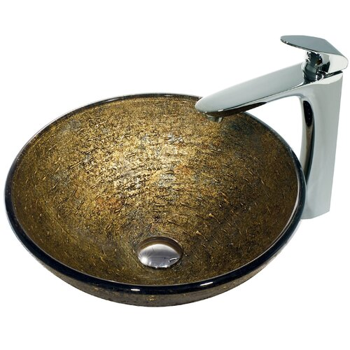 Glass Textured Bathroom Sink with Round-Edged Faucet