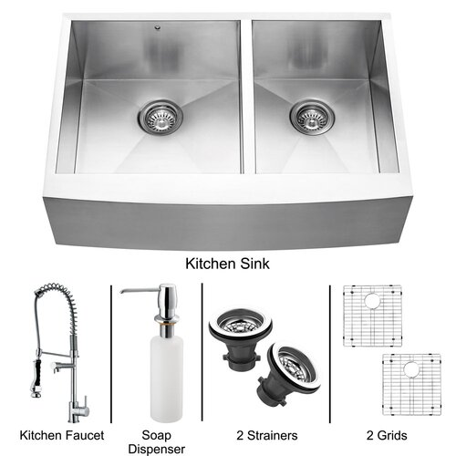 """Vigo 33"""" x 27"""" Double Farmhouse Kitchen Sink with Faucet, Two Grids, Two Strainers and Dispenser"""