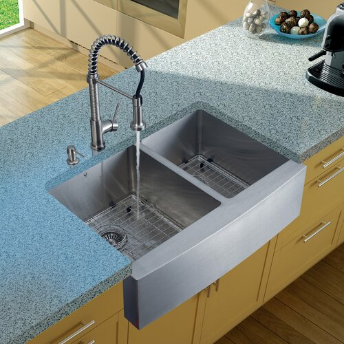 "Vigo 33"" x 22.25"" Double Farmhouse Kitchen Sink with Faucet, Two Grids, Two Strainers and Dispenser"