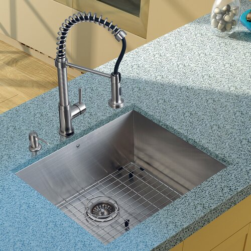 "Vigo 23"" x 20"" Undermount Kitchen Sink with Faucet, Grid, Strainer and Dispenser"