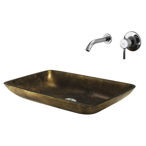 Copper Glass Rectangular Bathroom Sink with Faucet