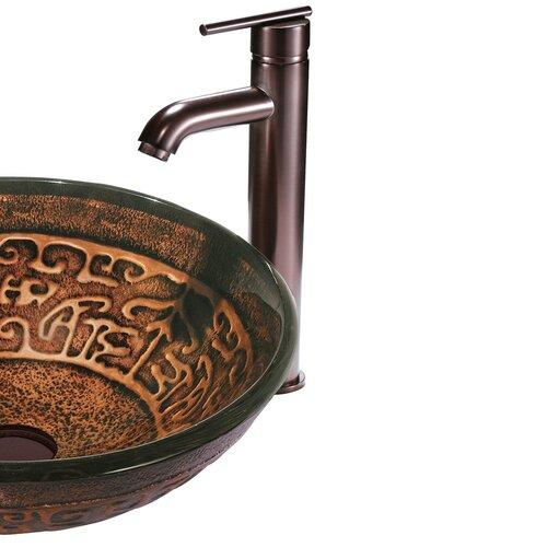 Vigo Copper Mosaic Glass Bathroom Sink with Faucet