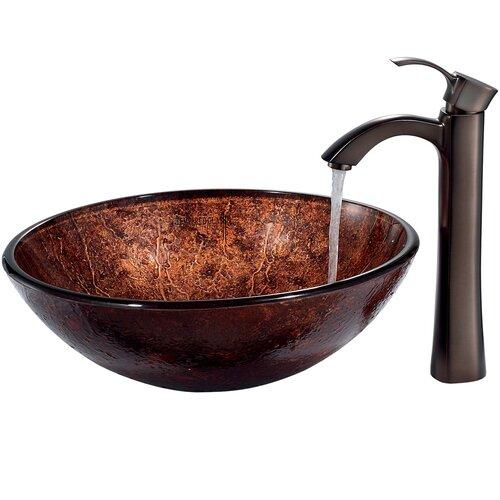 Vigo Mahogany Moon Vessel Sink with Faucet