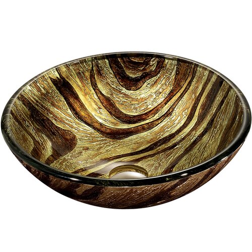 Zebra Above The Counter Round Tempered Glass Vessel Sink