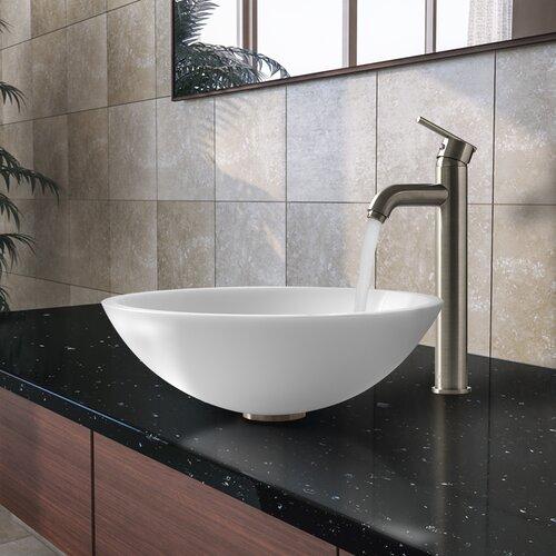 Vigo Flat Edged Stone Glass Vessel Bathroom Sink with Faucet