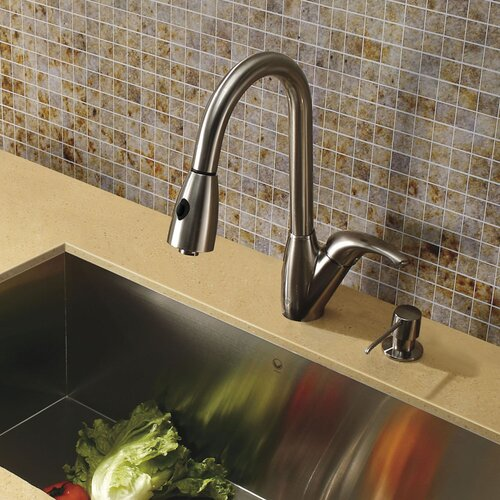 One Handle Single Hole Pull-Out Spray Kitchen Faucet with 16