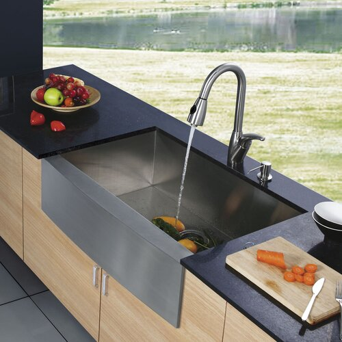 "Vigo 30"" x 22.25"" x 10"" Farmhouse Single Bowl Kitchen Sink with Faucet and Soap Dispenser"