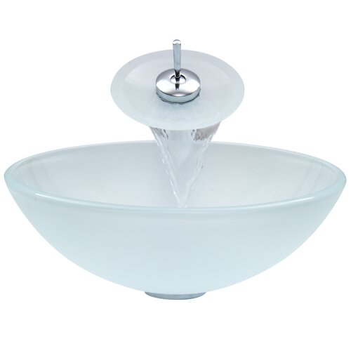 Vigo Glass Vessel Sink with Waterfall Faucet