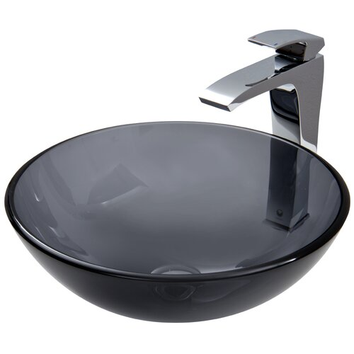 Vigo Glass Vessel Sink with Blackstonian Faucet