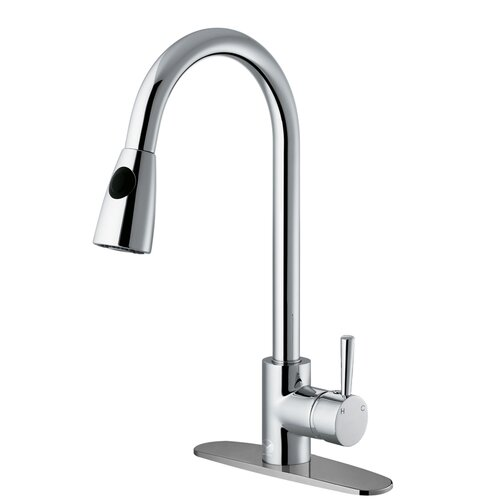 One Handle Single Hole Kitchen Faucet with Deck Plate and Pull-Out Spray