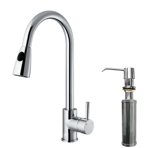 Vigo One Handle Single Hole Pull Out Spray Kitchen Faucet with Soap Dispenser