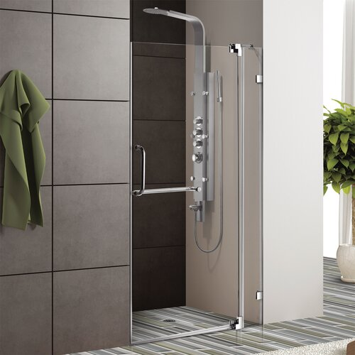 "Vigo Frameless Shower Door with 3/8"" Clear Glass"
