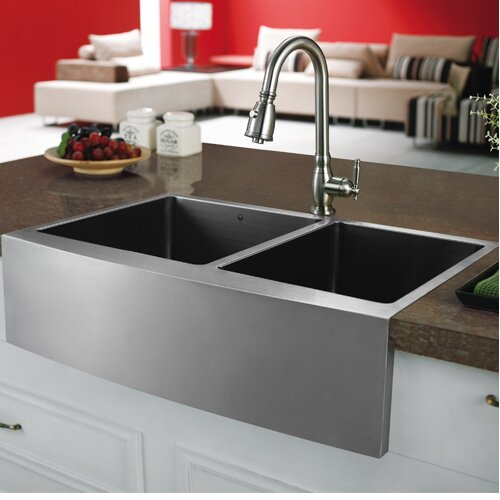 "Vigo 33"" x 22 25"" Double Bowl Farmhouse Kitchen Sink & Reviews"
