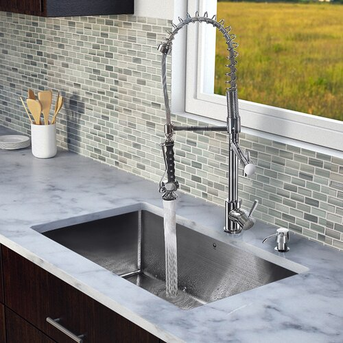 "Vigo 32"" x 19"" Single Bowl Kitchen Sink with Sprayer Faucet"