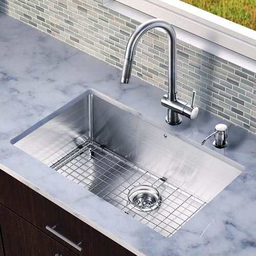 "Vigo 30"" x 19"" Single Bowl Kitchen Sink with Pull-Out Faucet"