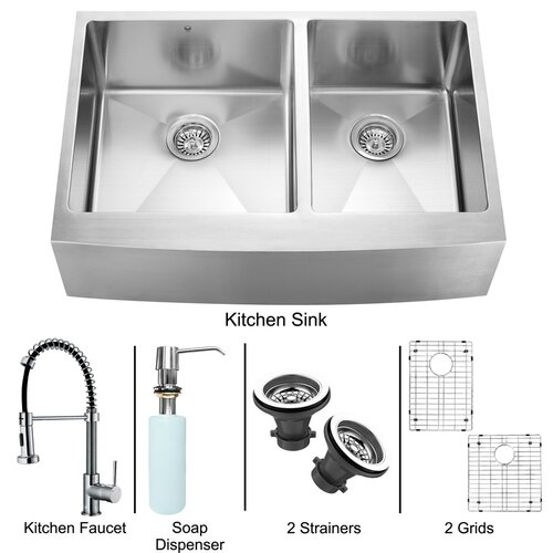 """Vigo All in One 33"""" x 22.25"""" Farmhouse Double Bowl Kitchen Sink and Faucet Set"""