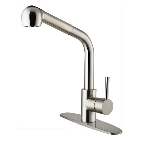 Vigo One Handle Single Hole Pull Out Spray Kitchen Faucet with Deck Plate
