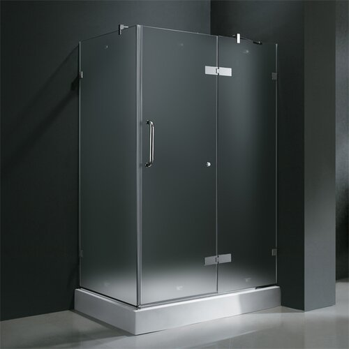 Vigo Frameless Pivot Door Shower Enclosure with Right Drain