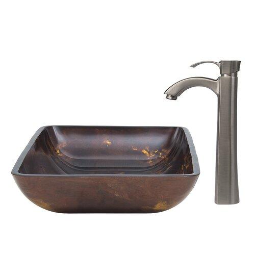Fusion Glass Vessel Sink and Otis Faucet Set