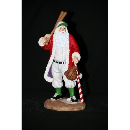 "Precious Moments ""Play Ball"" Baseball Santa Figurine"