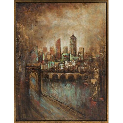 Skyline Cityscape Oil Framed Painting Print