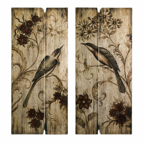 IMAX Norida Bird 2 Piece Photographic Print Plaque Set