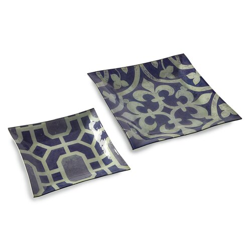 Amethyst Geometric Square Plates (Set of 2)