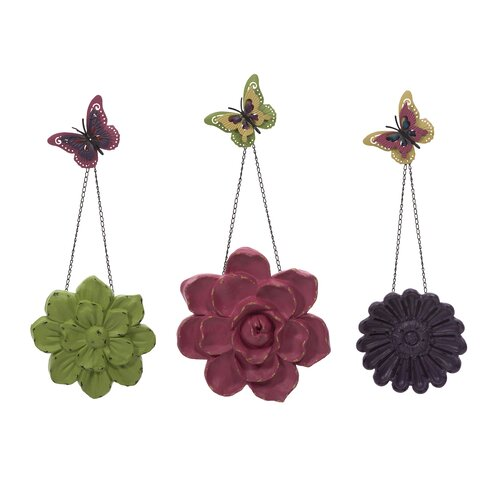 Guzman 3 Piece Wall Flowers with Chain Set