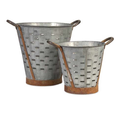 Vintage 2 Piece Pierced Bucket Set