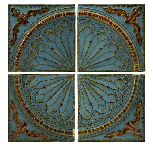Quarter Medallion Wall Panels in Blue (Set of 4)