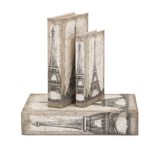 3 Piece Eiffel Tower Travel Book Box Set