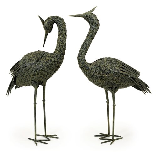 IMAX 2 Piece Metal Coastal Bird Statue Set