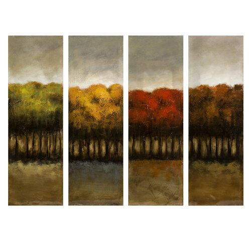 The Four Seasons 4 Piece Painting Print on Canvas Set