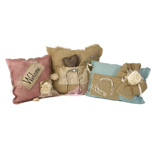Shaw Burlap Polyester Pillow (Set of 3)