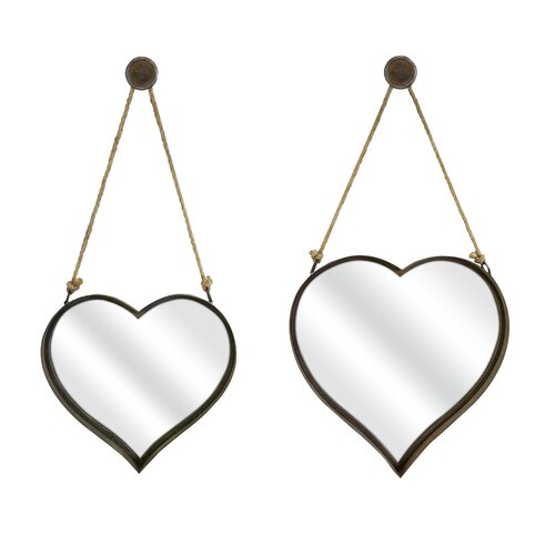 IMAX 2 Piece Heart Shape Wall Mirror