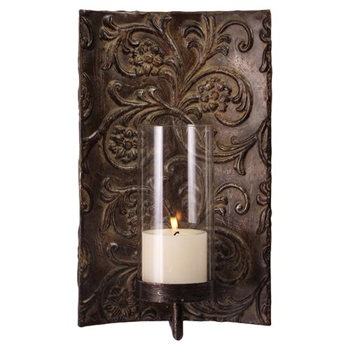 Wayfair Brass Wall Sconces : IMAX Galicia Embossed Metal and Glass Wall Sconce & Reviews Wayfair