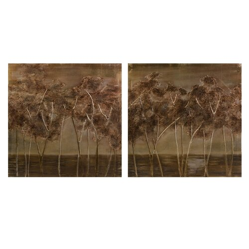 Morales Textured Trees Oils 2 Piece Photographic Print on Canvas Set