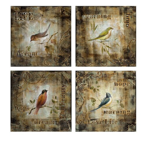 Chapette Birds Oil 4 Piece Painting Print Plaque Set