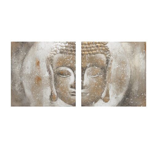 Texturized Buddha Oil 2 Piece Painting Print on Canvas Set