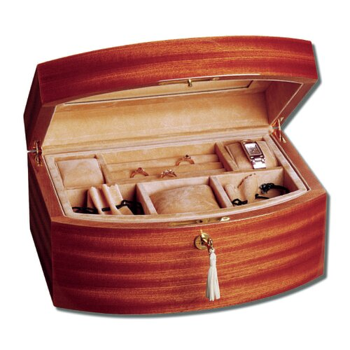 Mahogany Curved Front Jewelry Box