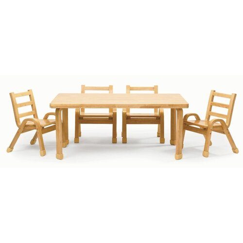 "Angeles NaturalWood 20"" Rectangle Preschool Table And Chair Set"